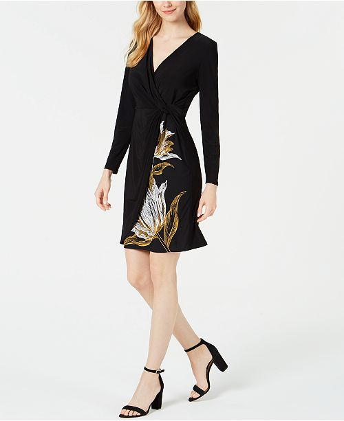 MSK Petite Twisted Faux-Wrap Dress
