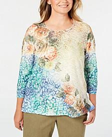 Plus Size Lake Tahoe Beaded Mixed-Print T-Shirt