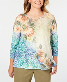 Alfred Dunner Plus Size Lake Tahoe Beaded Mixed-Print T-Shirt