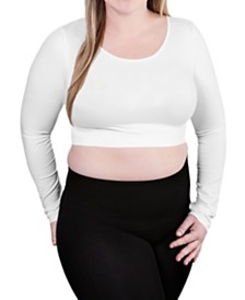 skinnytees Plus Long Sleeve Crop Top