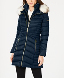 Laundry By Shelli Segal Faux-Fur Trim Puffer Coat