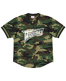 Mitchell & Ness Men's Golden State Warriors Camo Mesh V-Neck Jersey Top
