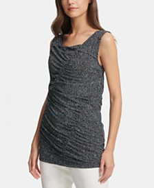 DKNY Sleeveless Printed Ruched Top