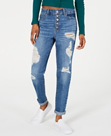 Rewash Juniors' Button-Front High-Rise Jeans