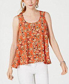 Petite Printed Sleeveless High-Low Swing Top, Created for Macy's