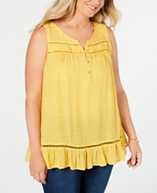 Style & Co Plus Size Ruffle Hem Pintuck Blouse, Created for Macy's