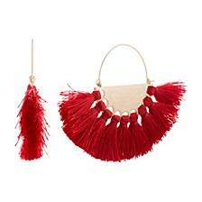 Women's Half Disc Tassel Hoop Extra Large Gold-Tone Earrings