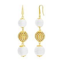 Women's Imitation Pearl Triple Ball Gold-Tone Drop Earrings