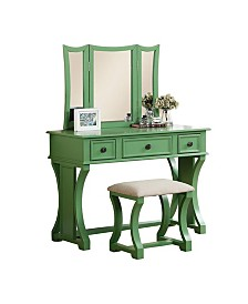Modish Vanity Set Featuring Stool And Mirror