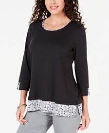 Karen Scott Printed-Hem 3/4-Sleeve Top, Created for Macy's
