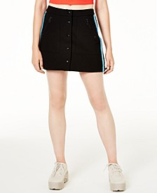 Ponte-Knit Button-Up Skirt