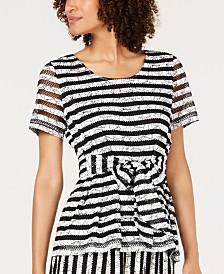 Alfani Textured Striped Tie-Waist Top, Created For Macy's