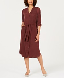 Alfani V-Neck Roll-Tab Shirt Dress, Created for Macy's