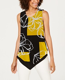 Alfani Printed Asymmetrical Tank Top, Created For Macy's