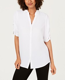 Alfani Solid Ruched-Sleeve Top, Created For Macy's