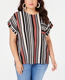 Monteau Trendy Plus Size Striped Top