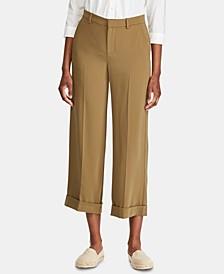 Petite Twill Wide-Leg Pants