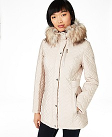 Petite Hooded Quilted Faux-Fur Trim Coat