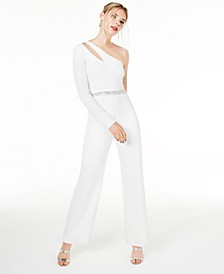 Juniors' Rhinestone One-Shoulder Jumpsuit