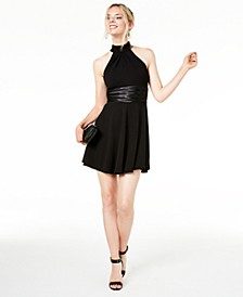 Juniors' Halter Tuxedo Dress