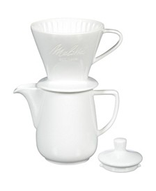 64123 Porcelain Pour-Over Carafe Set with Cone Brewer and Carafe, White