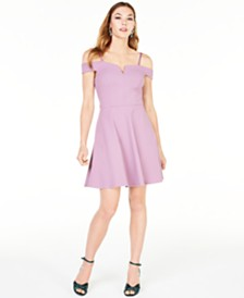 BCX Juniors' Off-The-Shoulder Fit & Flare Dress