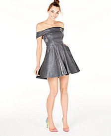 City Studios Juniors' Off-The-Shoulder Metallic Dress