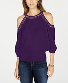 I.N.C. Crochet-Trim Cold-Shoulder Top, Created for Macy's