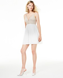 Speechless Juniors' Beaded Fit & Flare Dress, Created for Macy's