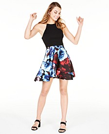 Juniors' Cross Back Printed Fit & Flare Dress, Created for Macy's