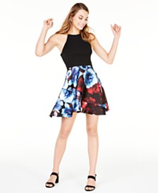 Speechless Juniors' Strappy Printed Fit & Flare Dress, Created for Macy's