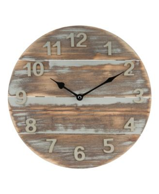 "La Crosse Clock 404-3430W 12"" Sun Washed Wood Wall Clock"