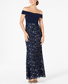 Petite Soutache Off-The-Shoulder Gown