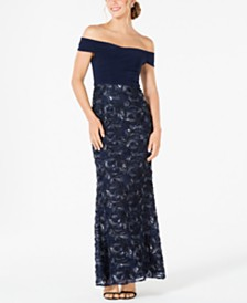 Adrianna Papell Soutache Off-The-Shoulder Gown