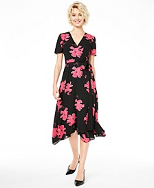 Floral-Print V-Neck Wrap Dress, Created for Macy's