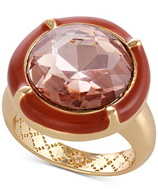 Gold-Tone Crystal & Stone Ring