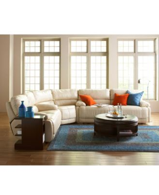 Nina 3-Piece Leather Power Reclining Sectional Sofa with 2 ...