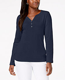 Karen Scott Petite Cotton Henley-Neck Top, Created For Macy's