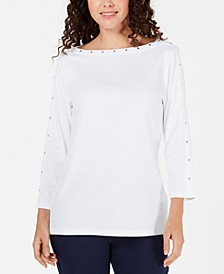Petite Studded Boat-Neck Cotton Top, Created for Macy's