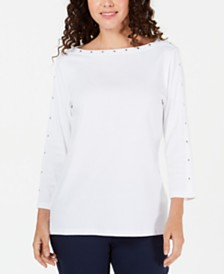 Karen Scott Petite Studded Boat-Neck Cotton Top, Created for Macy's