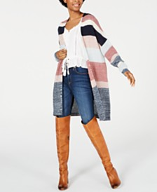 American Rag Juniors' Long-Sleeve Colorblocked Cardigan, Created for Macy's