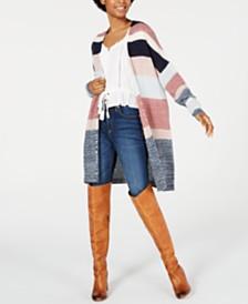 American Rag Juniors' Long-Sleeve Colorblocked Cardigan, Created for Macy's