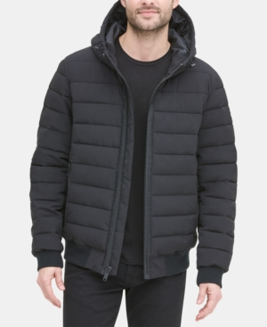 Dkny Men S Quilted Hooded Bomber Jacket In Black Modesens