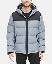 Men's Mixed-Media Puffer Coat, Created for Macy's