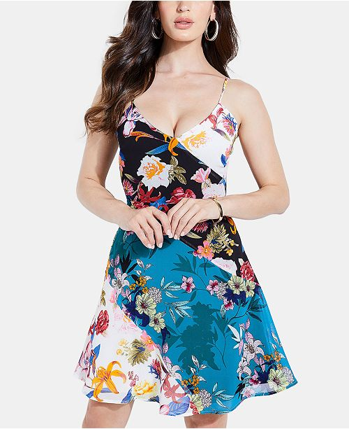 GUESS Georgiana Floral Fit & Flare Dress