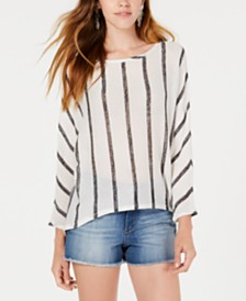 Bar III Striped High-Low Sweater, Created for Macy's