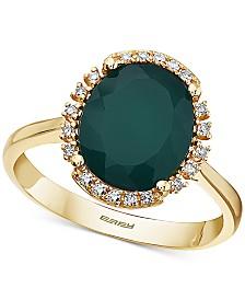 EFFY® Green Onyx (11 x 9mm) & Diamond (1/10 ct. t.w.) Statement Ring in 14k Gold