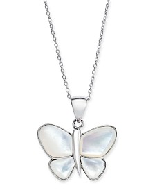 "Mother of Pearl Butterfly 18"" Pendant Necklace in Sterling Silver"