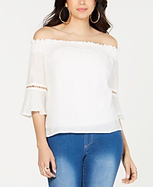 Thalia Sodi Chain-trim Off-The-Shoulder Top, Created for Macy's