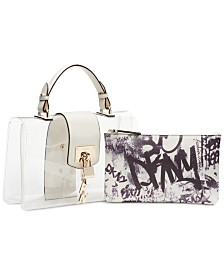 DKNY Elissa Logo Graffiti Flap Clear Shoulder Bag, Created for Macy's